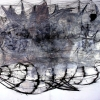 Meditation Ship IV- by Jinwon Chang - 60 X 44 inches - acrylic and pencil on paper - year 2006 - at Paia Contemporary Gallery