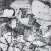 Steel Landscape - by Sharon Lindenfeld - etching on paper - 24 x 27 inches - year 2007 - at Paia Contemporary Gallery